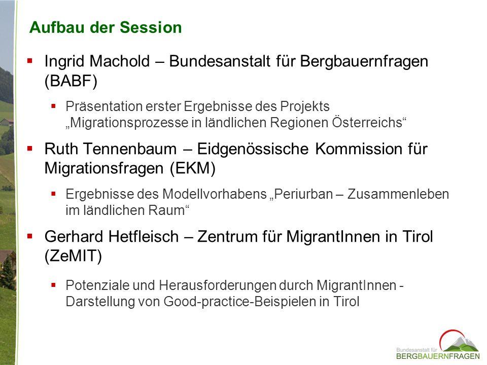 Aufbau der Session Ingrid Machold – Bundesanstalt für Bergbauernfragen (BABF) Präsentation erster Ergebnisse des Projekts Migrationsprozesse in ländli