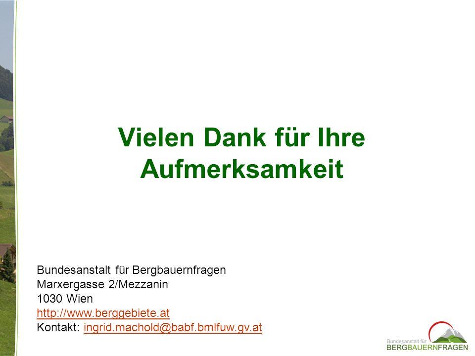 Vielen Dank für Ihre Aufmerksamkeit Bundesanstalt für Bergbauernfragen Marxergasse 2/Mezzanin 1030 Wien http://www.berggebiete.at Kontakt: ingrid.mach