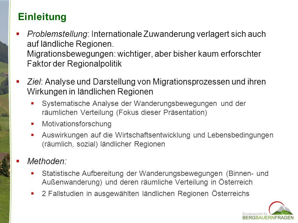 Einleitung Problemstellung: Internationale Zuwanderung verlagert sich auch auf ländliche Regionen. Migrationsbewegungen: wichtiger, aber bisher kaum e