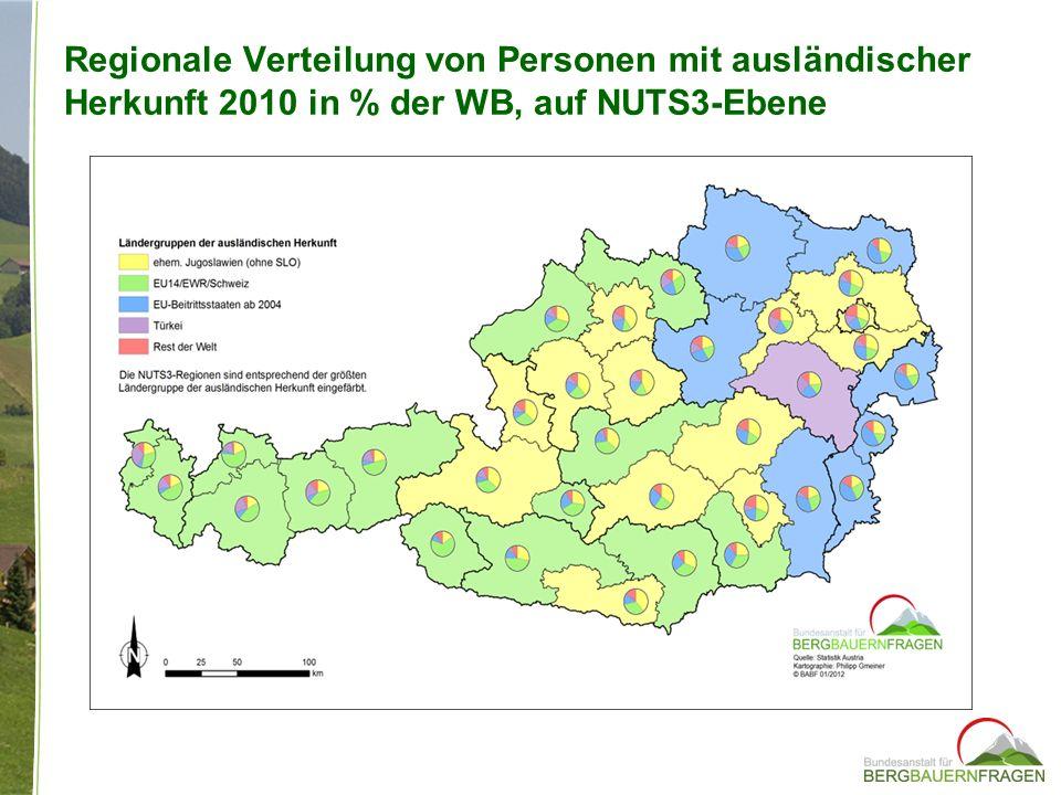Regionale Verteilung von Personen mit ausländischer Herkunft 2010 in % der WB, auf NUTS3-Ebene