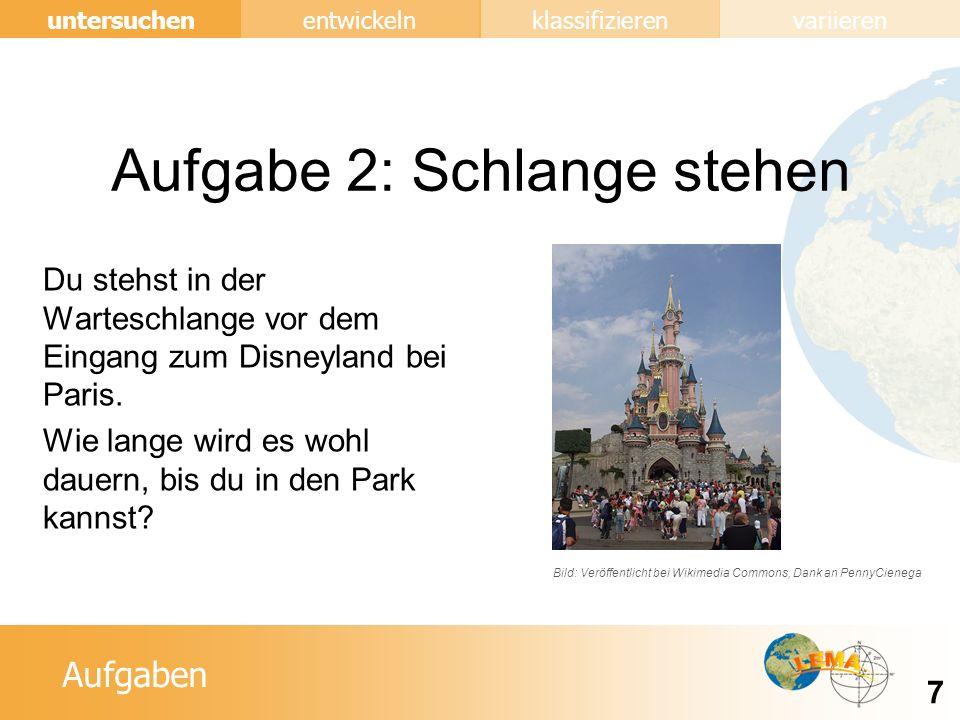 Aufgaben entwickeln 7 untersuchenklassifizierenvariieren Aufgabe 2: Schlange stehen Du stehst in der Warteschlange vor dem Eingang zum Disneyland bei