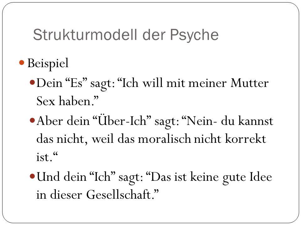 Strukturmodell der Psyche Beispiel Dein Es sagt: Ich will mit meiner Mutter Sex haben. Aber dein Über-Ich sagt: Nein- du kannst das nicht, weil das mo