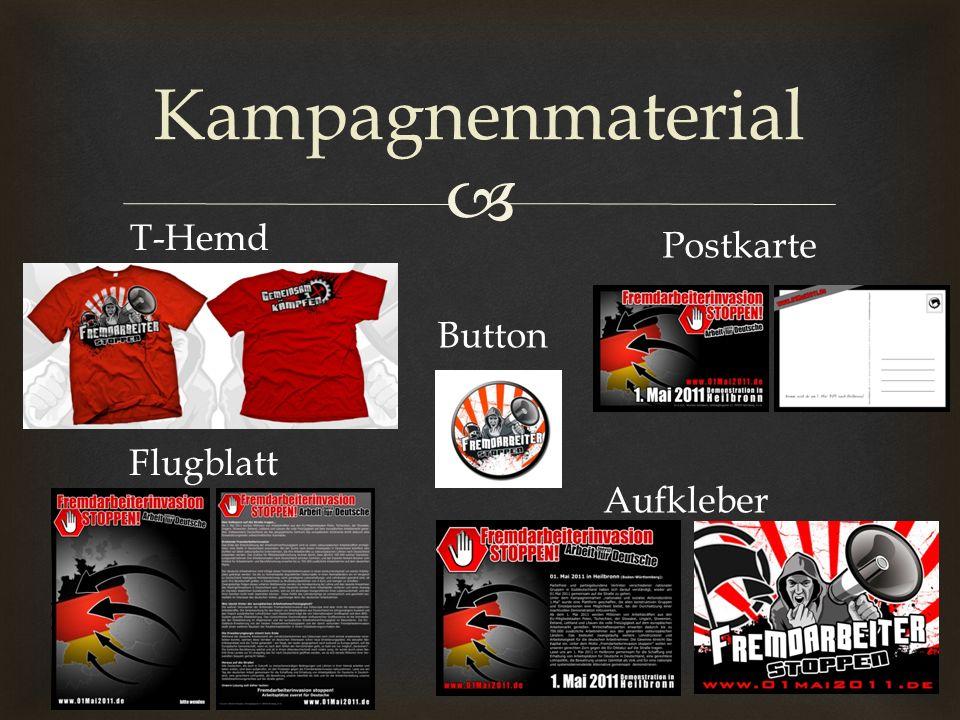 Kampagnenmaterial Aufkleber Postkarte T-Hemd Flugblatt Button
