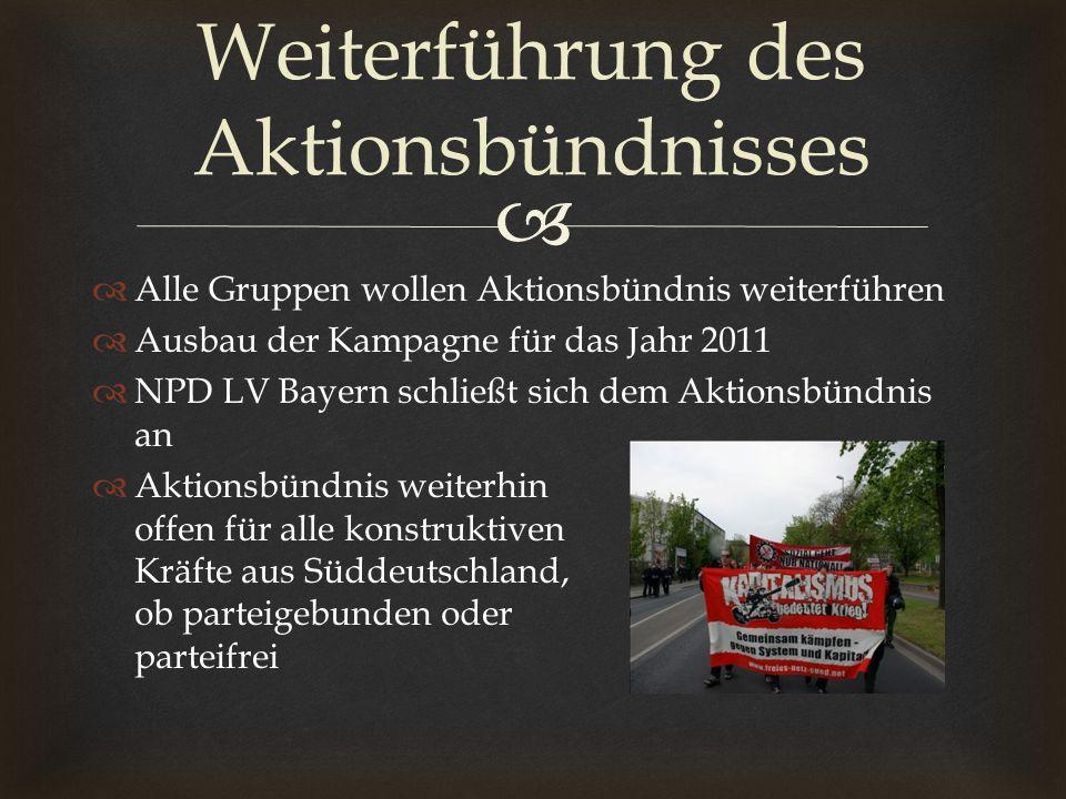 Alle Gruppen wollen Aktionsbündnis weiterführen Ausbau der Kampagne für das Jahr 2011 NPD LV Bayern schließt sich dem Aktionsbündnis an Aktionsbündnis