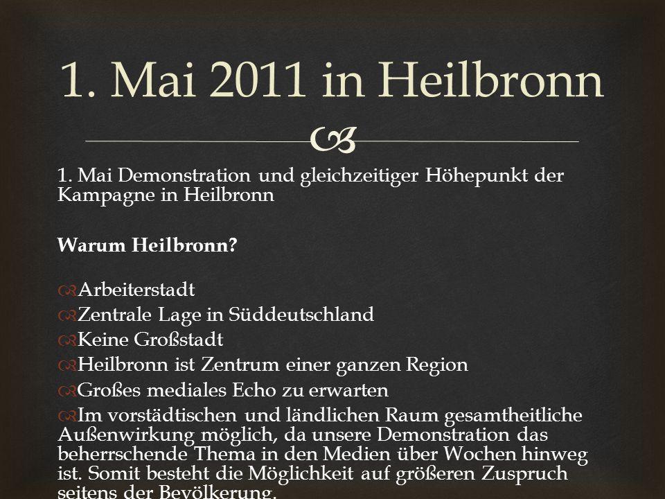 1. Mai Demonstration und gleichzeitiger Höhepunkt der Kampagne in Heilbronn Warum Heilbronn? Arbeiterstadt Zentrale Lage in Süddeutschland Keine Großs