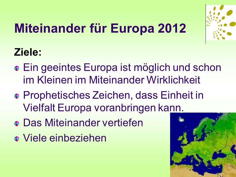 Miteinander für Europa 2012 Ziele: Ein geeintes Europa ist möglich und schon im Kleinen im Miteinander Wirklichkeit Prophetisches Zeichen, dass Einhei