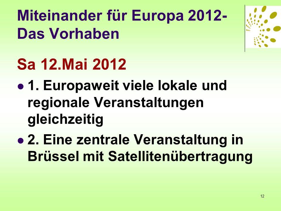 Miteinander für Europa 2012- Das Vorhaben Sa 12.Mai 2012 1. Europaweit viele lokale und regionale Veranstaltungen gleichzeitig 2. Eine zentrale Verans