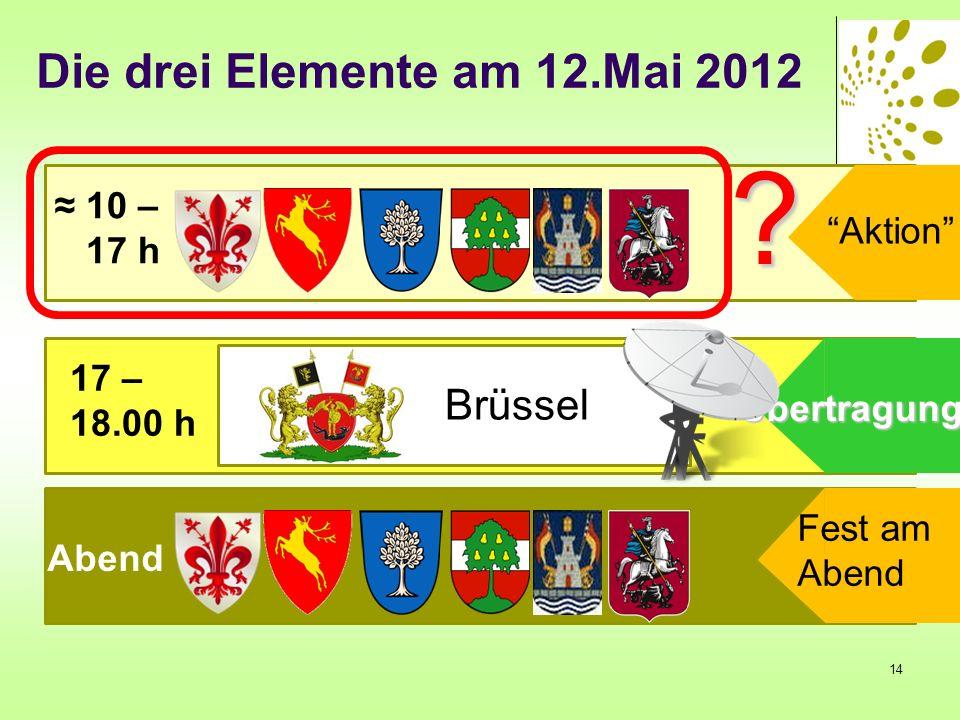10 – 17 h 17 – 18.00 h Abend Brüssel Aktion Fest am Abend Übertragung ? Die drei Elemente am 12.Mai 2012 14