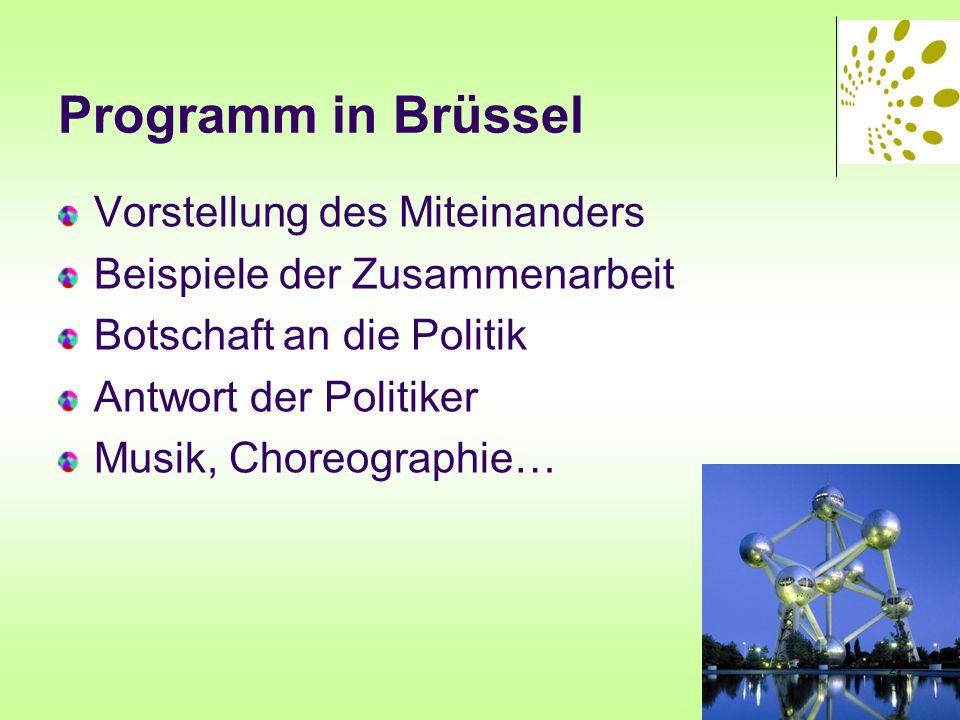 Programm in Brüssel Vorstellung des Miteinanders Beispiele der Zusammenarbeit Botschaft an die Politik Antwort der Politiker Musik, Choreographie… 21