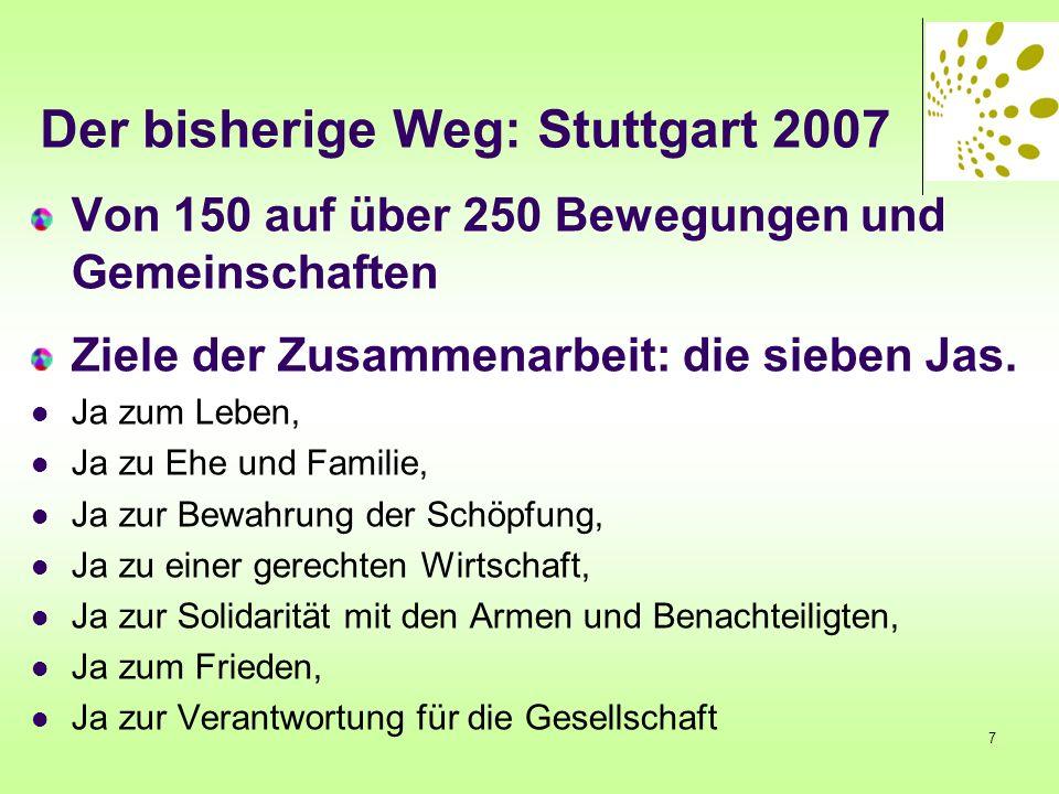 Der bisherige Weg: Stuttgart 2007 Von 150 auf über 250 Bewegungen und Gemeinschaften Ziele der Zusammenarbeit: die sieben Jas. Ja zum Leben, Ja zu Ehe