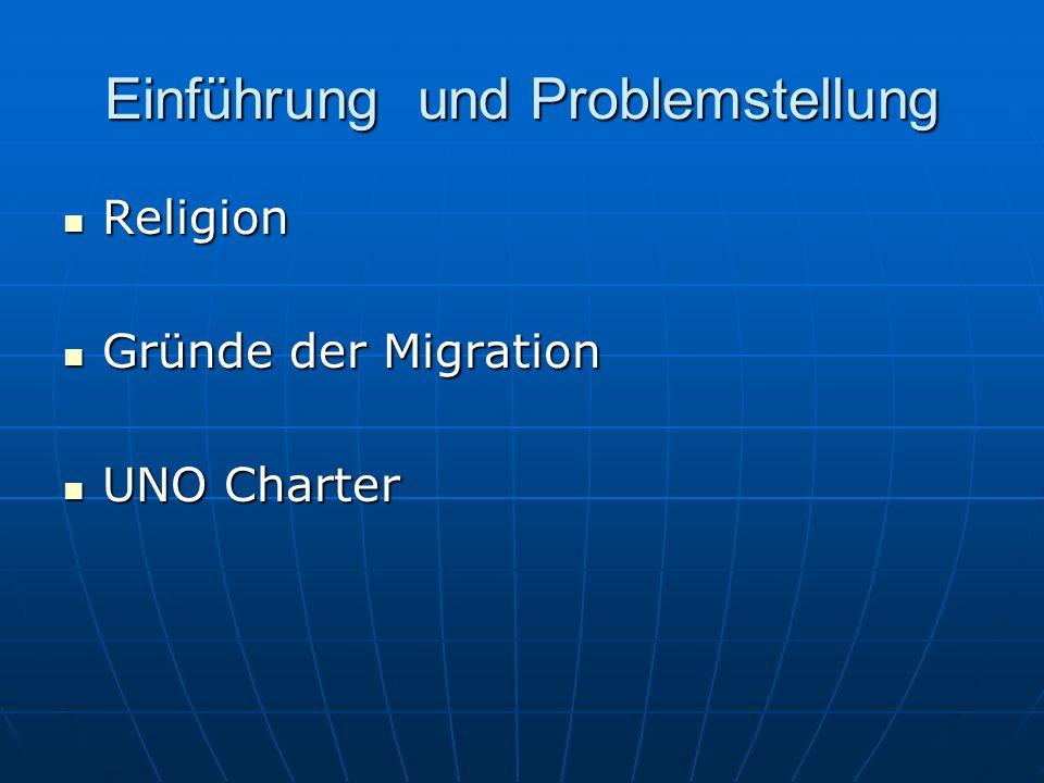 Einführung und Problemstellung Religion Religion Gründe der Migration Gründe der Migration UNO Charter UNO Charter