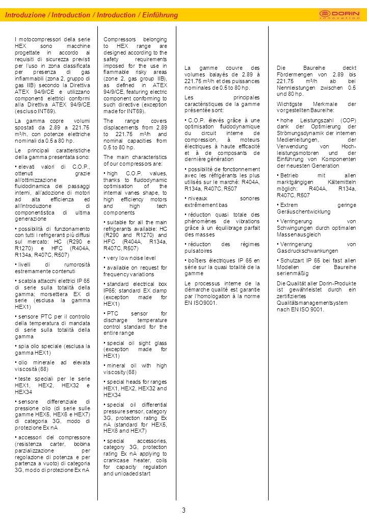3 Introduzione / Introduction / Introduction / Einführung I motocompressori della serie HEX sono macchine progettate in accordo ai requisiti di sicurezza previsti per luso in zona classificata per presenza di gas infiammabili (zona 2, gruppo di gas IIB) secondo la Direttiva ATEX 94/9/CE e utilizzano componenti elettrici conformi alla Direttiva ATEX 94/9/CE (escluso INT69).