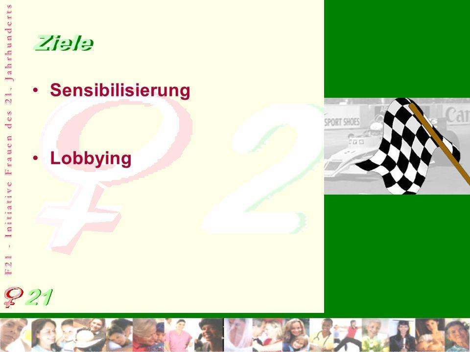 F 2 1 - I n i t i a t i v e F r a u e n d e s 2 1. J a h r h u n d e r t s Ziele Sensibilisierung Lobbying