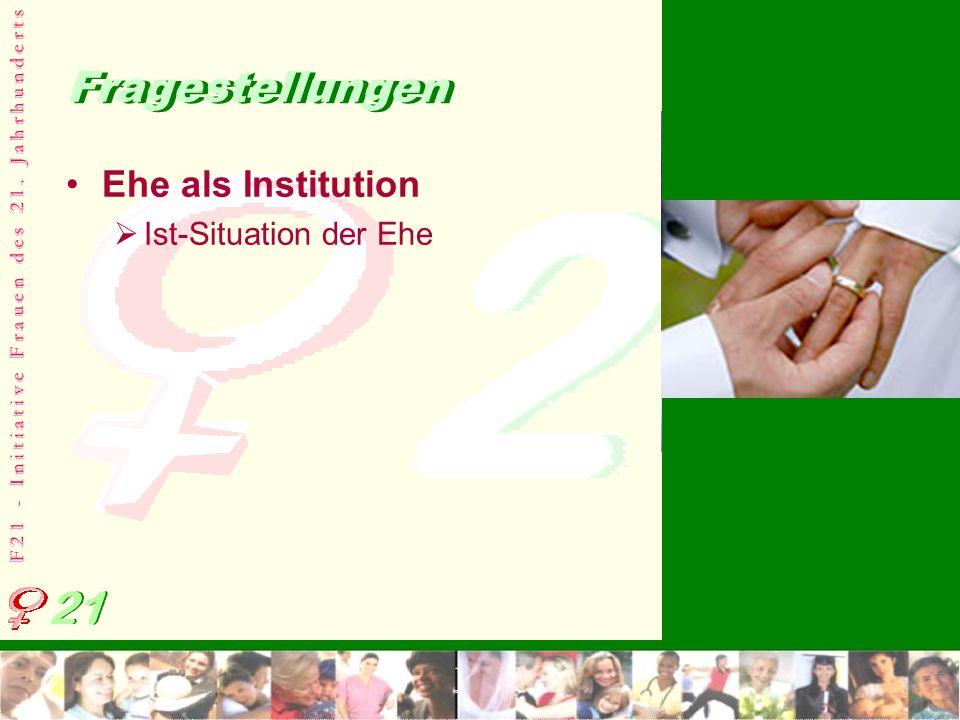 F 2 1 - I n i t i a t i v e F r a u e n d e s 2 1. J a h r h u n d e r t s Fragestellungen Ehe als Institution Ist-Situation der Ehe