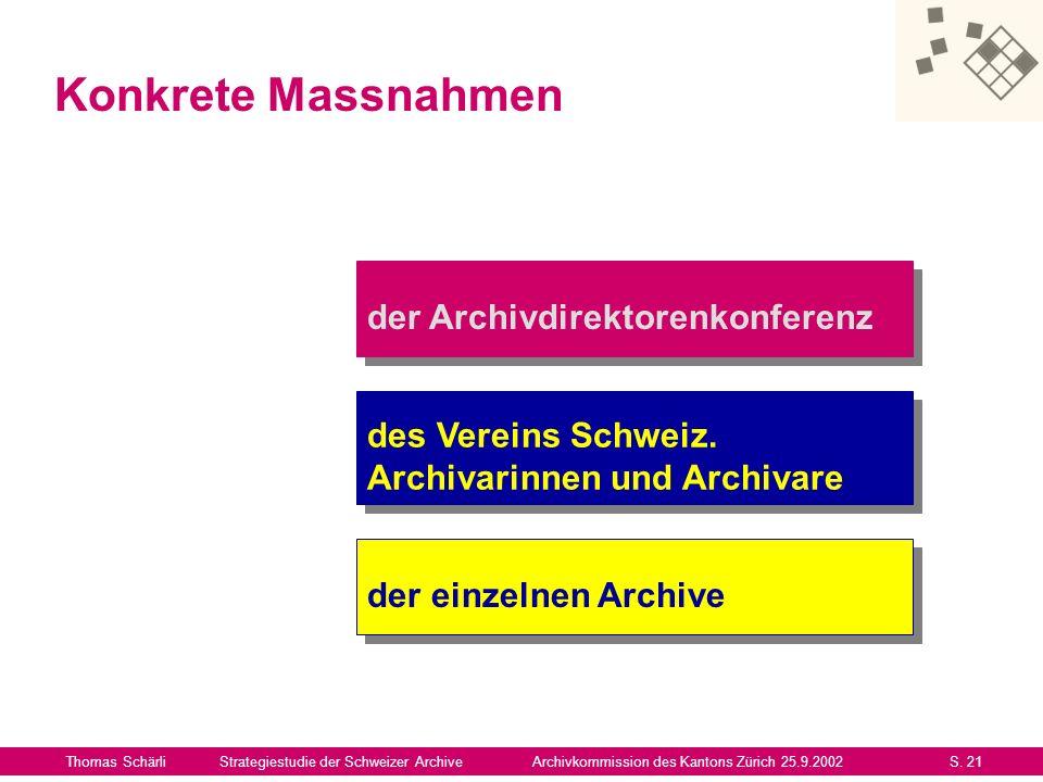 Thomas SchärliStrategiestudie der Schweizer ArchiveArchivkommission des Kantons Zürich 25.9.2002S. 21 der Archivdirektorenkonferenz Konkrete Massnahme