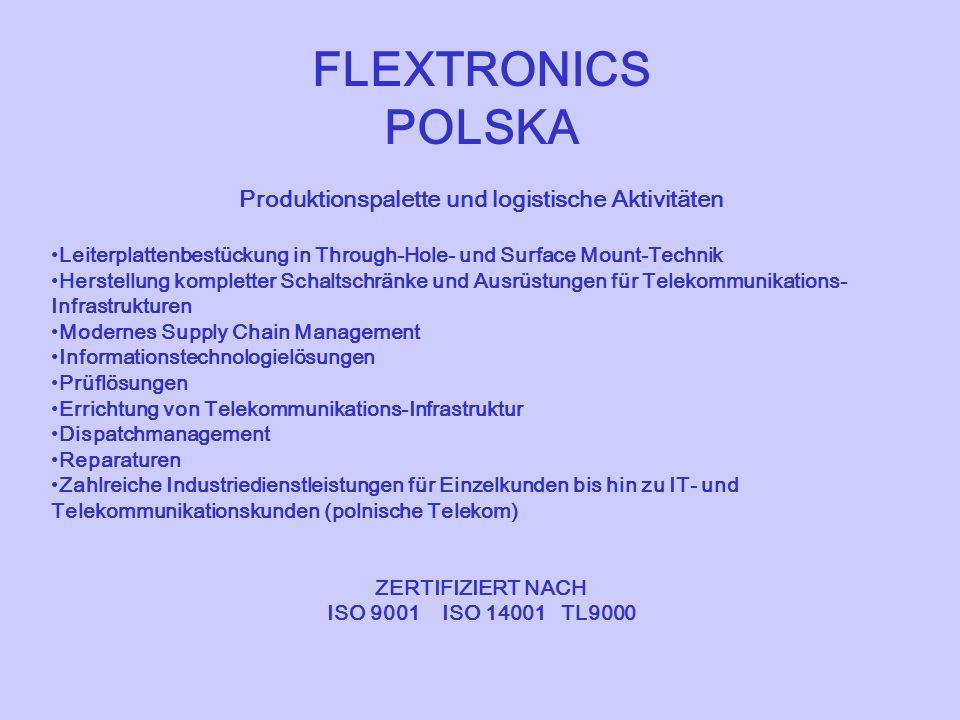 FLEXTRONICS POLSKA Produktionspalette und logistische Aktivitäten Leiterplattenbestückung in Through-Hole- und Surface Mount-Technik Herstellung kompl