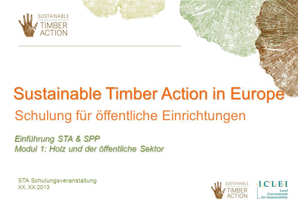 STA Schulungsveranstaltung XX, XX.2013 Sustainable Timber Action in Europe Schulung für öffentliche Einrichtungen Einführung STA & SPP Modul 1: Holz u