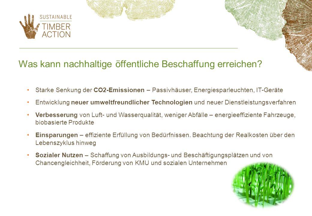 Was kann nachhaltige öffentliche Beschaffung erreichen? Starke Senkung der CO2-Emissionen – Passivhäuser, Energiesparleuchten, IT-Geräte Entwicklung n