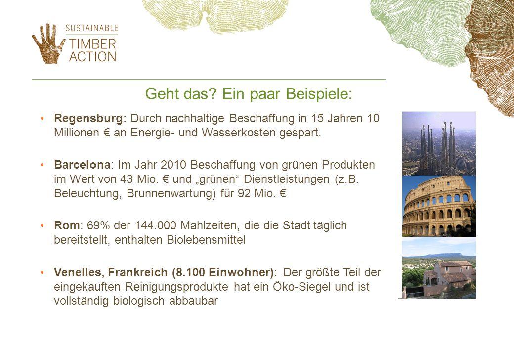 Geht das? Ein paar Beispiele: Regensburg: Durch nachhaltige Beschaffung in 15 Jahren 10 Millionen an Energie- und Wasserkosten gespart. Barcelona: Im