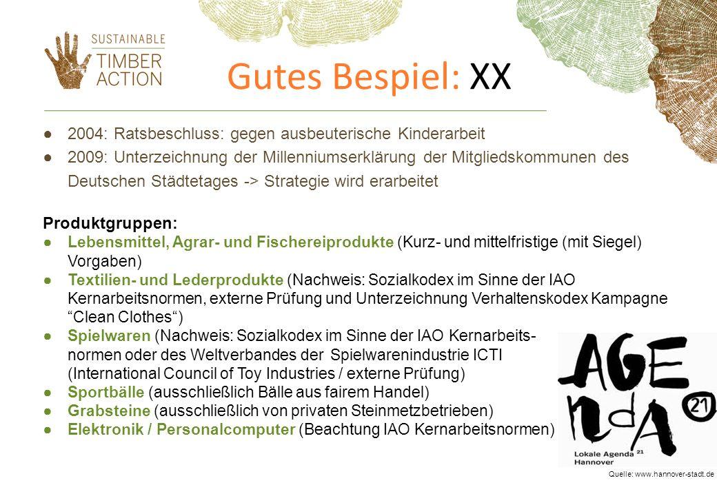 Gutes Bespiel: XX 2004: Ratsbeschluss: gegen ausbeuterische Kinderarbeit 2009: Unterzeichnung der Millenniumserklärung der Mitgliedskommunen des Deuts