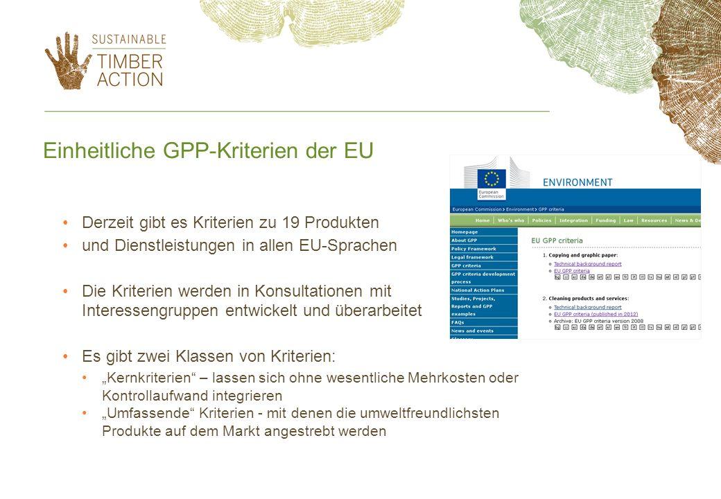 Einheitliche GPP-Kriterien der EU Derzeit gibt es Kriterien zu 19 Produkten und Dienstleistungen in allen EU-Sprachen Die Kriterien werden in Konsulta