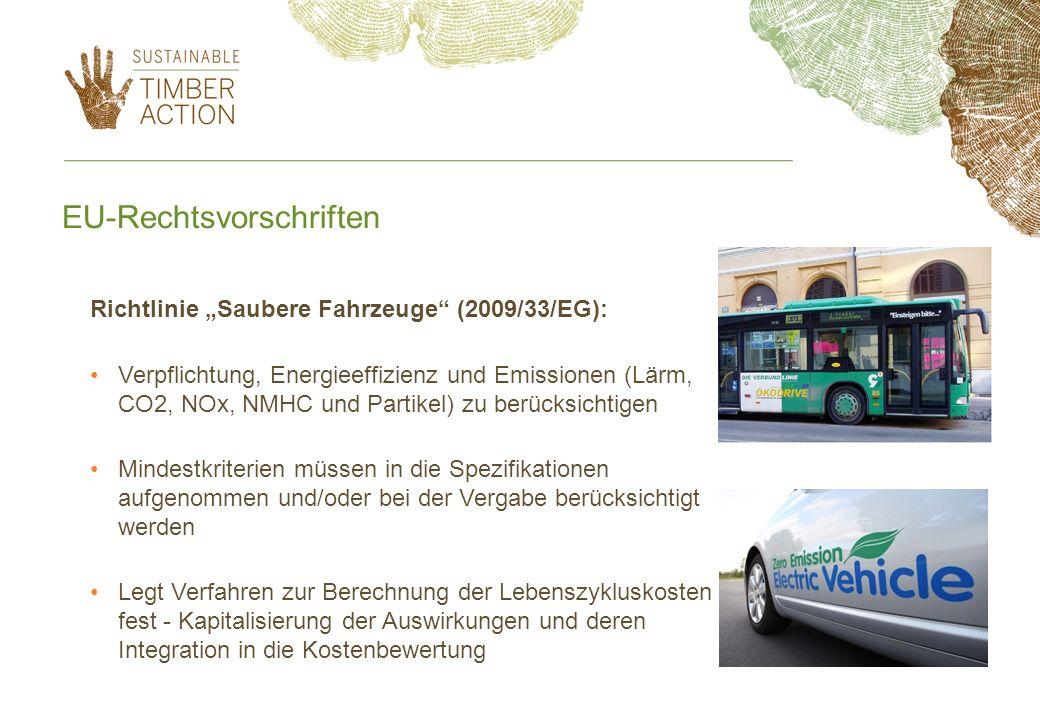 EU-Rechtsvorschriften Richtlinie Saubere Fahrzeuge (2009/33/EG): Verpflichtung, Energieeffizienz und Emissionen (Lärm, CO2, NOx, NMHC und Partikel) zu