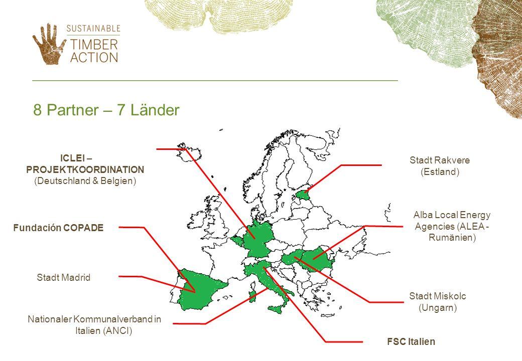 8 Partner – 7 Länder Stadt Rakvere (Estland) Alba Local Energy Agencies (ALEA - Rumänien) Stadt Miskolc (Ungarn) FSC Italien Stadt Madrid Nationaler K