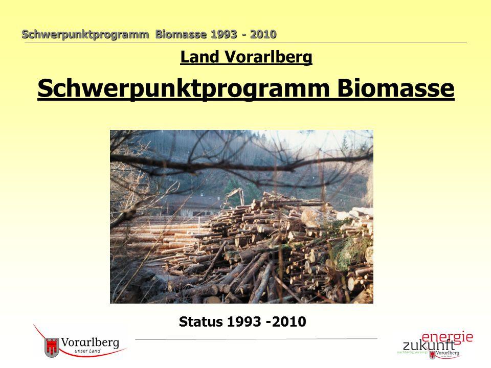 Schwerpunktprogramm Biomasse 1993 - 2010 Land Vorarlberg Schwerpunktprogramm Biomasse Status 1993 -2010
