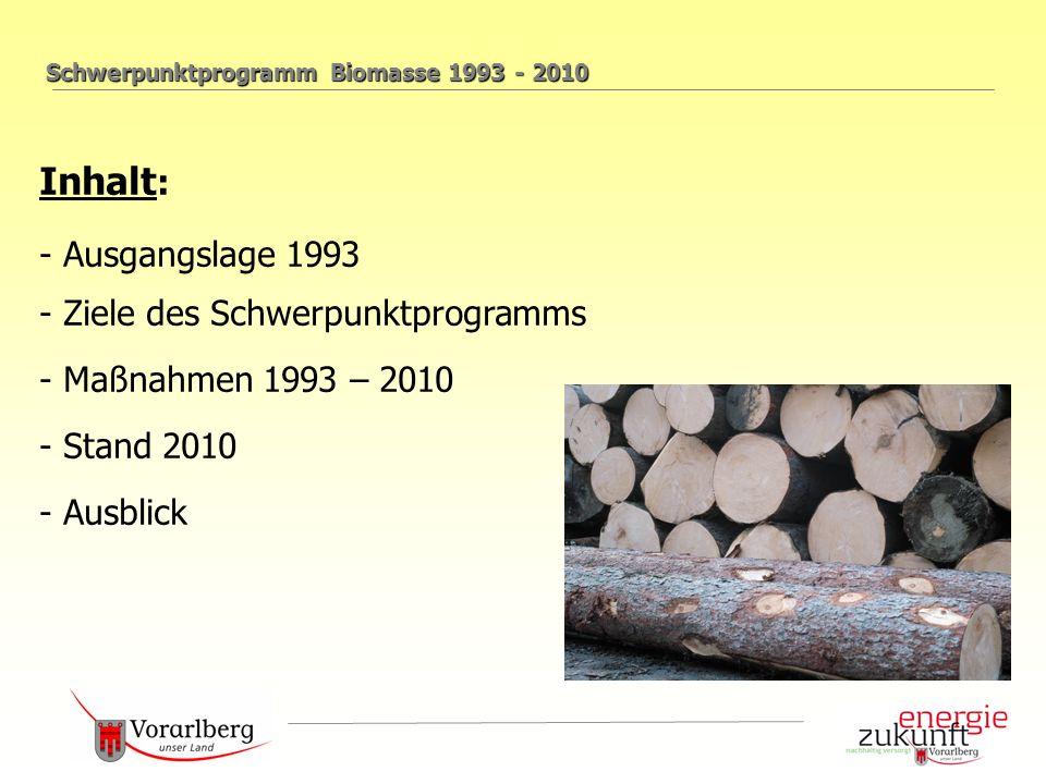 Schwerpunktprogramm Biomasse 1993 - 2010 Inhalt : - Ausgangslage 1993 - Ziele des Schwerpunktprogramms - Maßnahmen 1993 – 2010 - Stand 2010 - Ausblick
