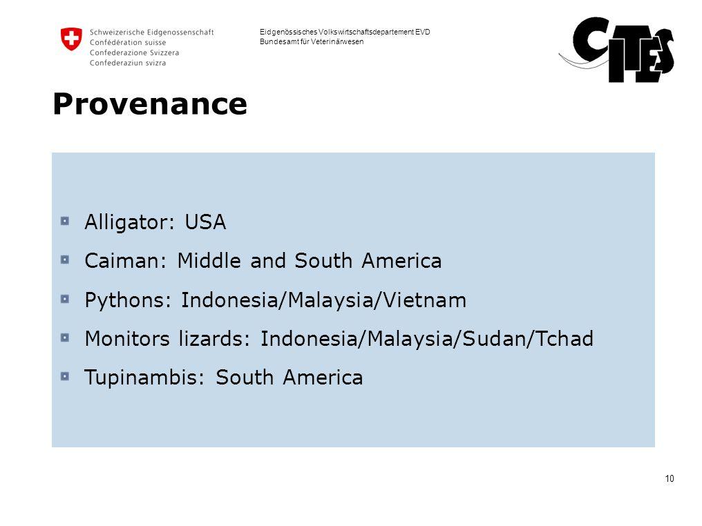 10 Eidgenössisches Volkswirtschaftsdepartement EVD Bundesamt für Veterinärwesen Provenance Alligator: USA Caiman: Middle and South America Pythons: In