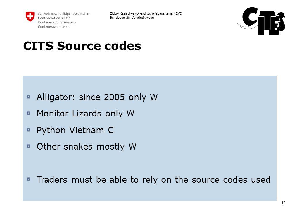 12 Eidgenössisches Volkswirtschaftsdepartement EVD Bundesamt für Veterinärwesen CITS Source codes Alligator: since 2005 only W Monitor Lizards only W