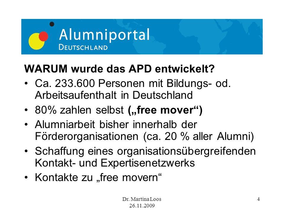 Dr.Martina Loos 26.11.2009 5 Durch WEN wurde das APD entwickelt.