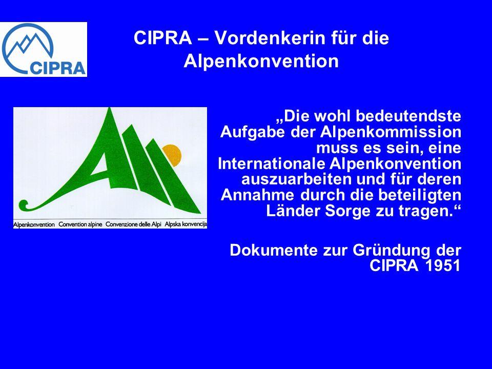 Die wohl bedeutendste Aufgabe der Alpenkommission muss es sein, eine Internationale Alpenkonvention auszuarbeiten und für deren Annahme durch die bete