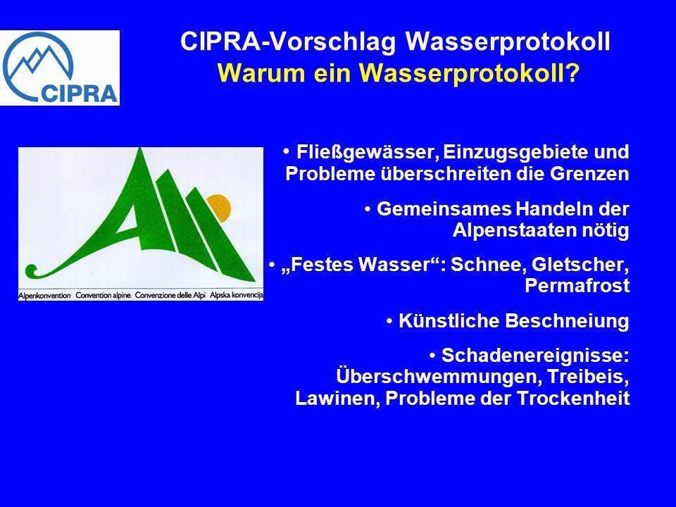 Fließgewässer, Einzugsgebiete und Probleme überschreiten die Grenzen Gemeinsames Handeln der Alpenstaaten nötig Festes Wasser: Schnee, Gletscher, Perm
