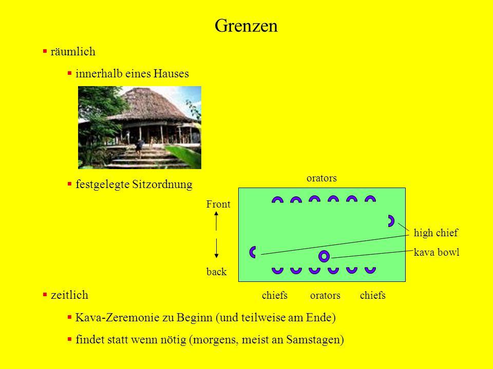 Grenzen räumlich innerhalb eines Hauses festgelegte Sitzordnung zeitlich Kava-Zeremonie zu Beginn (und teilweise am Ende) findet statt wenn nötig (mor