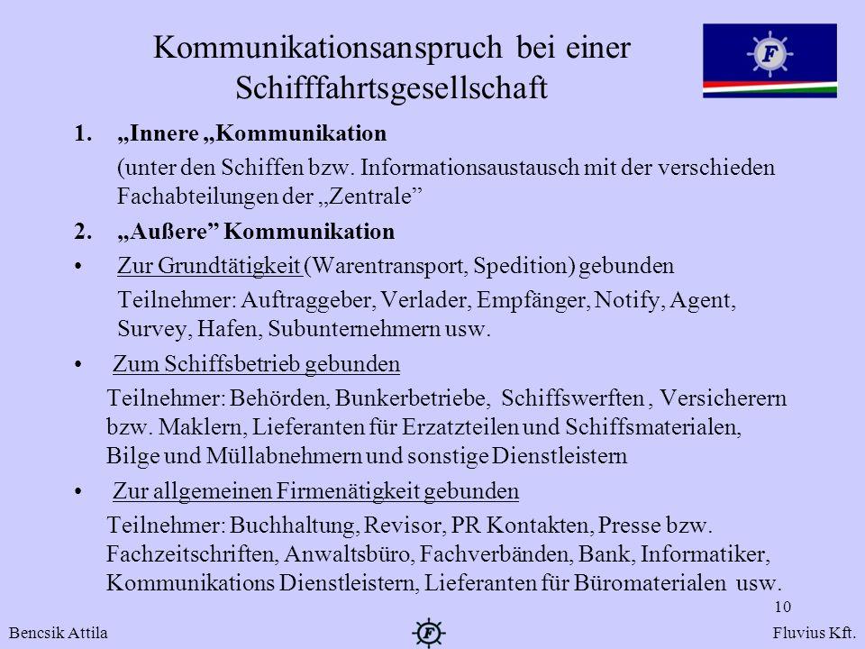 Kommunikationsanspruch bei einer Schifffahrtsgesellschaft 1.Innere Kommunikation (unter den Schiffen bzw. Informationsaustausch mit der verschieden Fa