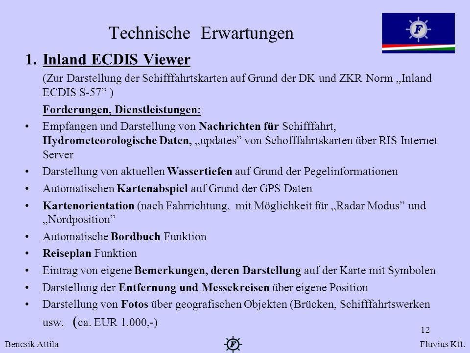 Technische Erwartungen 1.Inland ECDIS Viewer (Zur Darstellung der Schifffahrtskarten auf Grund der DK und ZKR Norm Inland ECDIS S-57 ) Forderungen, Di