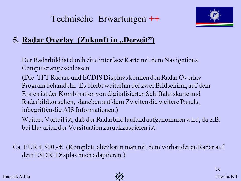 Technische Erwartungen ++ 5. Radar Overlay (Zukunft in Derzeit) Der Radarbild ist durch eine interface Karte mit dem Navigations Computer angeschlosse