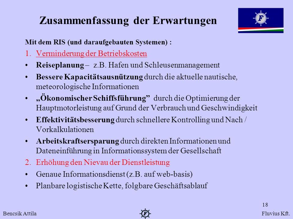 Zusammenfassung der Erwartungen Mit dem RIS (und daraufgebauten Systemen) : 1.Verminderung der Betriebskosten Reiseplanung – z.B. Hafen und Schleusenm