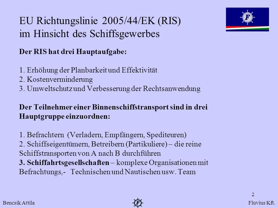 EU Richtungslinie 2005/44/EK (RIS) im Hinsicht des Schiffsgewerbes Der RIS hat drei Hauptaufgabe: 1. Erhöhung der Planbarkeit und Effektivität 2. Kost