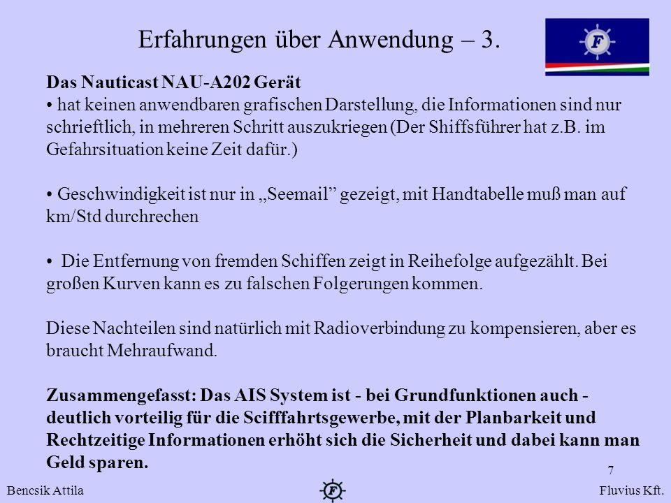 Erfahrungen über Anwendung – 3. Das Nauticast NAU-A202 Gerät hat keinen anwendbaren grafischen Darstellung, die Informationen sind nur schrieftlich, i