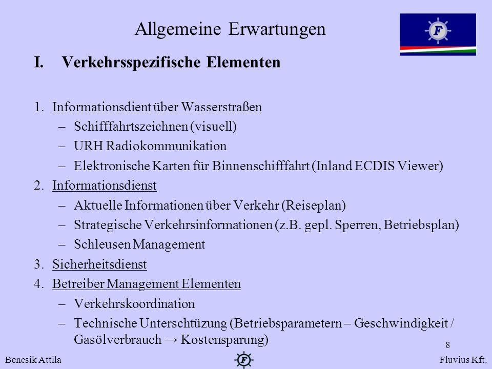 Allgemeine Erwartungen I.Verkehrsspezifische Elementen 1.Informationsdient über Wasserstraßen –Schifffahrtszeichnen (visuell) –URH Radiokommunikation