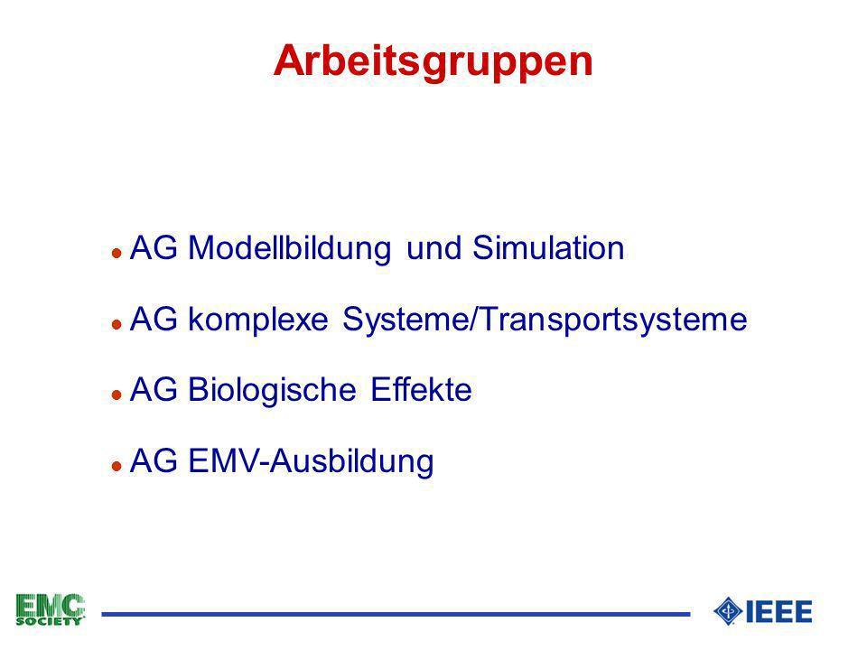 Arbeitsgruppen l AG Modellbildung und Simulation l AG komplexe Systeme/Transportsysteme l AG Biologische Effekte l AG EMV-Ausbildung