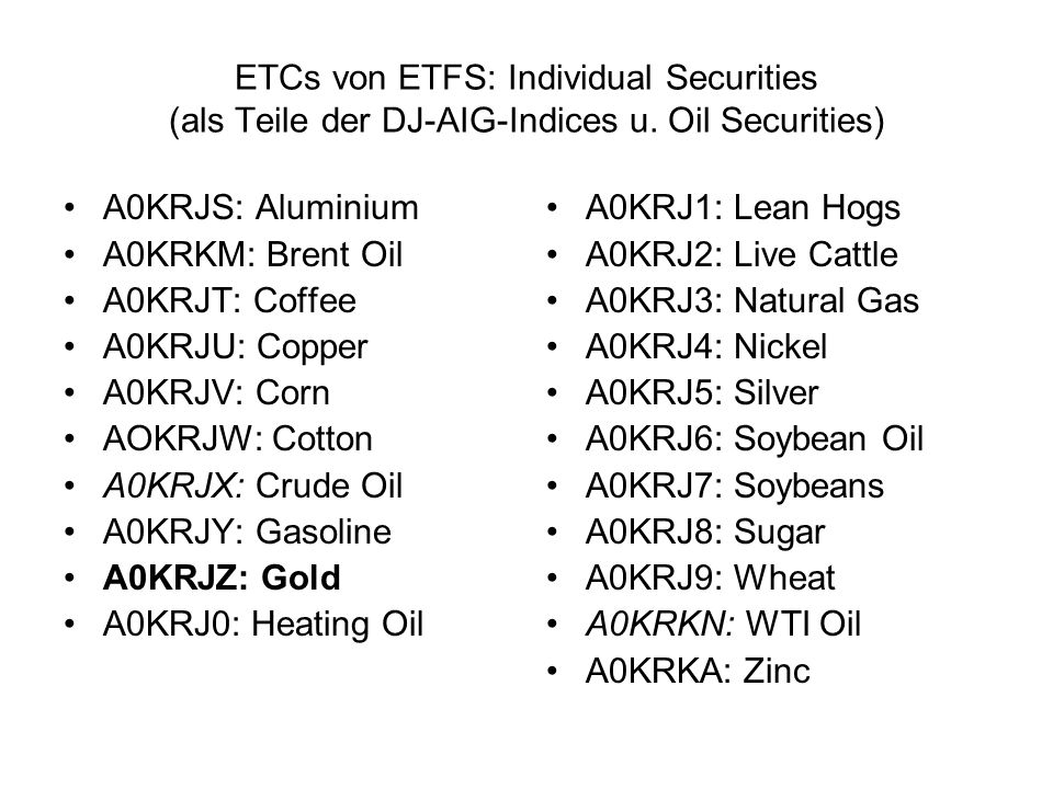 ETCs von ETFS: Individual Securities (als Teile der DJ-AIG-Indices u. Oil Securities) A0KRJS: Aluminium A0KRKM: Brent Oil A0KRJT: Coffee A0KRJU: Coppe