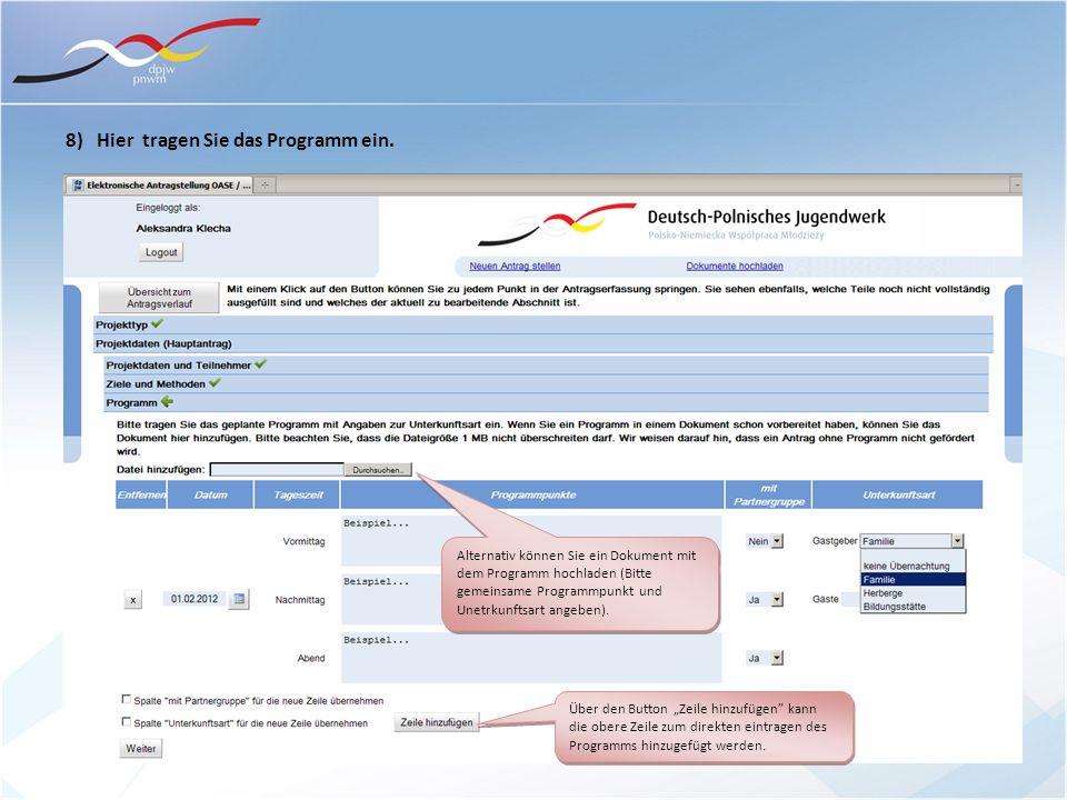 8) Hier tragen Sie das Programm ein. Alternativ können Sie ein Dokument mit dem Programm hochladen (Bitte gemeinsame Programmpunkt und Unetrkunftsart