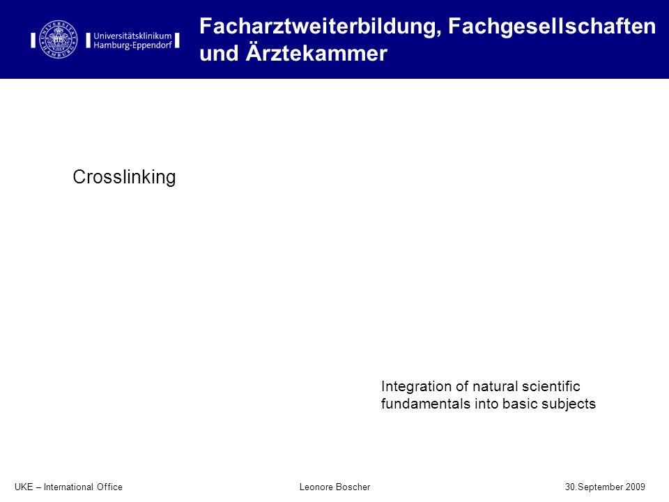 UKE – International Office 30.September 2009 Leonore Boscher Facharztweiterbildung, Fachgesellschaften und Ärztekammer Integration of natural scientif