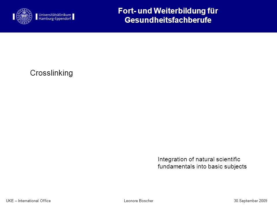 UKE – International Office 30.September 2009 Leonore Boscher Fort- und Weiterbildung für Gesundheitsfachberufe Integration of natural scientific funda