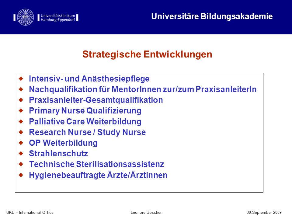 UKE – International Office 30.September 2009 Leonore Boscher Intensiv- und Anästhesiepflege Nachqualifikation für MentorInnen zur/zum PraxisanleiterIn