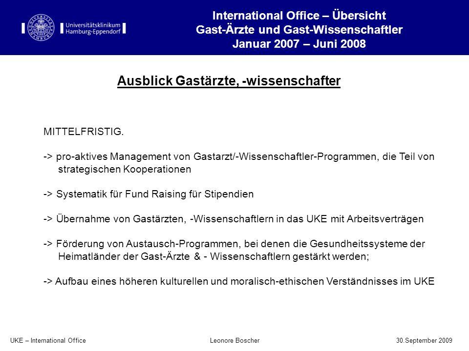 UKE – International Office 30.September 2009 Leonore Boscher Ausblick Gastärzte, -wissenschafter International Office – Übersicht Gast-Ärzte und Gast-
