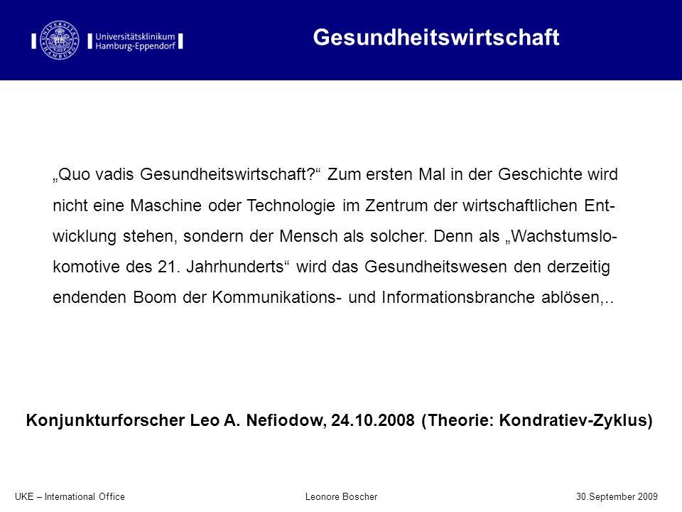 UKE – International Office 30.September 2009 Leonore Boscher Quo vadis Gesundheitswirtschaft? Zum ersten Mal in der Geschichte wird nicht eine Maschin